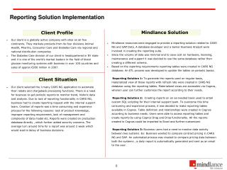Reporting Solution Implementation