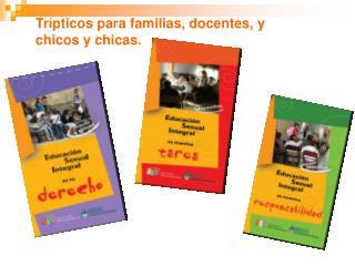 Trípticos para familias, docentes, y chicos y chicas.