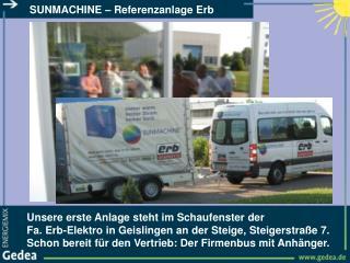 SUNMACHINE – Referenzanlage Erb