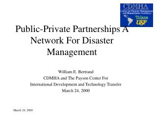 Public-Private Partnerships A Network For Disaster Management