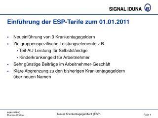 Einführung der ESP-Tarife zum 01.01.2011