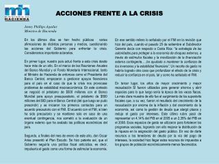 ACCIONES FRENTE A LA CRISIS Jenny Phillips Aguilar Ministra de Hacienda