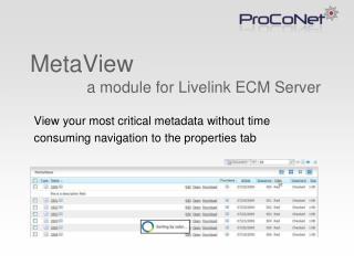 MetaView              a module for Livelink ECM Server
