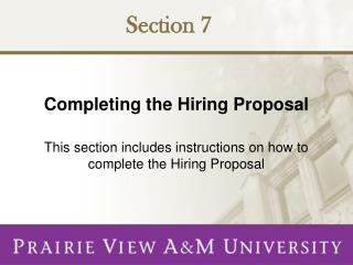Completing the Hiring Proposal