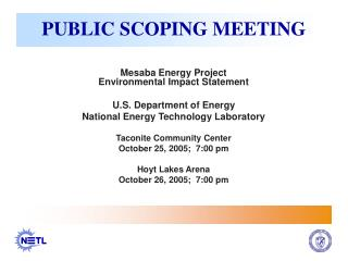 PUBLIC SCOPING MEETING