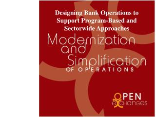 Designing Bank Operations to Support Program-Based and Sectorwide Approaches