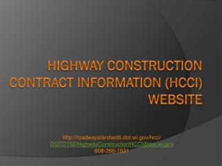 Highway Construction Contract Information (HCCI) Website