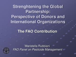Strenghtening the Global Partnership:  Perspective of Donors and International Organizations