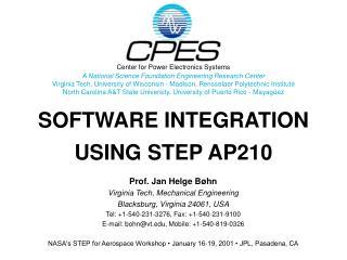 SOFTWARE INTEGRATION  USING STEP AP210