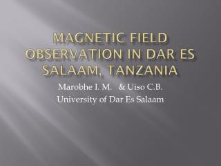 Magnetic FIELD Observation in Dar Es Salaam, Tanzania