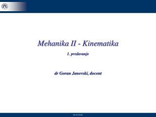 Mehanika II - Kinematika