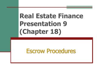 Real Estate Finance Presentation 9 Chapter 18