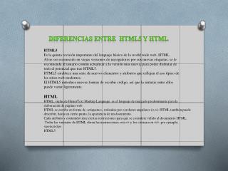 Diferencias entre  HTML5 Y HTML