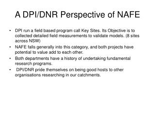 A DPI/DNR Perspective of NAFE