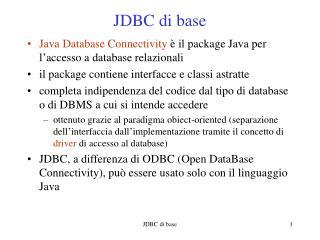 JDBC di base
