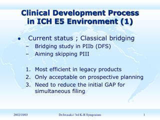 Clinical Development Process           in ICH E5 Environment (1)