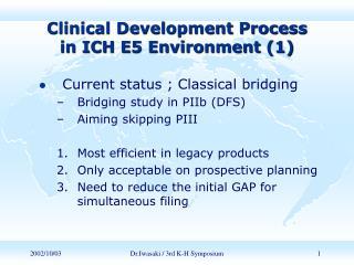 Clinical Development Process           in ICH E5 Environment (1)