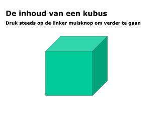 De inhoud van een kubus  Druk steeds op de linker muisknop om verder te gaan