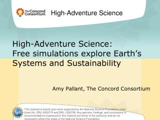 High-Adventure Science: Free simulations explore Earth's Systems and Sustainability