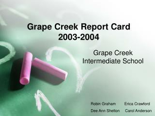 Grape Creek Report Card 2003-2004