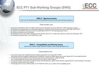 ECC PT1 Sub-W orking Groups (SWG)