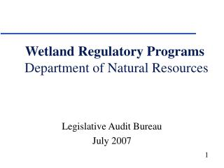 Wetland Regulatory Programs  Department of Natural Resources