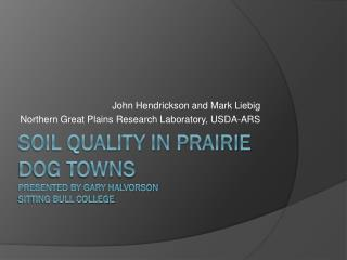 Soil Quality in Prairie Dog Towns Presented by Gary Halvorson  Sitting Bull College