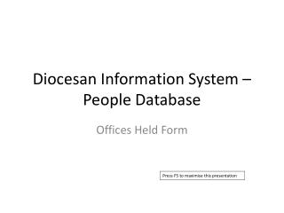 Diocesan Information System – People Database