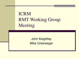 ICRM RMT Working Group Meeting