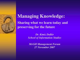 Managing Knowledge: