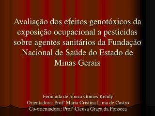 Avalia  o dos efeitos genot xicos da exposi  o ocupacional a pesticidas sobre agentes sanit rios da Funda  o Nacional de