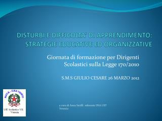 DISTURBI E DIFFICOLTA' DI APPRENDIMENTO: STRATEGIE EDUCATIVE ED ORGANIZZATIVE