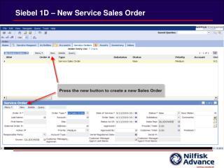 Siebel 1D – New Service Sales Order