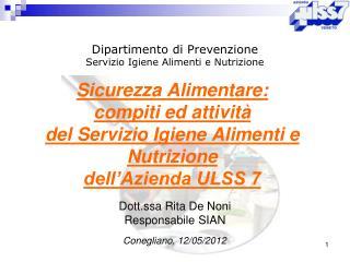 Dipartimento di Prevenzione  Servizio Igiene Alimenti e Nutrizione