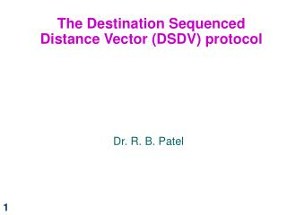 The Destination Sequenced Distance Vector DSDV protocol