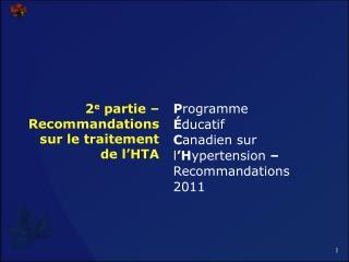 2e partie   Recommandations sur le traitement de l HTA