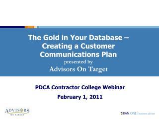 PDCA Contractor College Webinar February 1, 2011