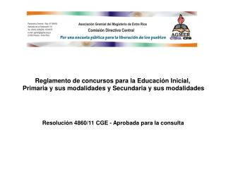 Reglamento de concursos para la Educación Inicial,