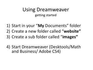 Using Dreamweaver getting started