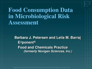Food Consumption Data in Microbiological Risk Assessment