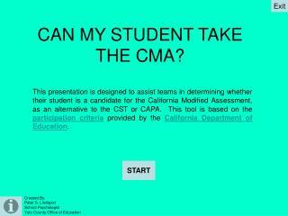 CAN MY STUDENT TAKE THE CMA?
