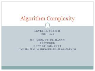 Algorithm Complexity