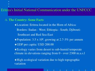 Eritrea's Initial National Communication under the UNFCCC