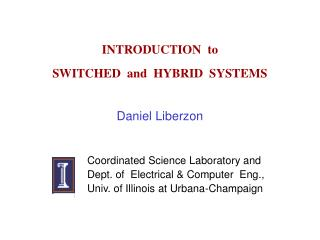INTRODUCTION  to   SWITCHED  and  HYBRID  SYSTEMS