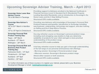 Upcoming Sovereign Adviser Training, March – April 2013