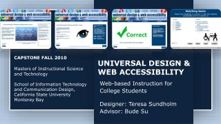 UNIVERSAL DESIGN & WEB ACCESSIBILITY