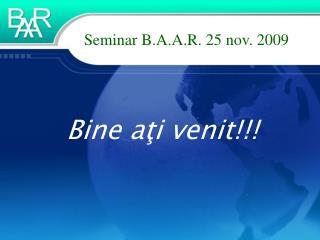 Seminar B.A.A.R. 25 nov. 2009