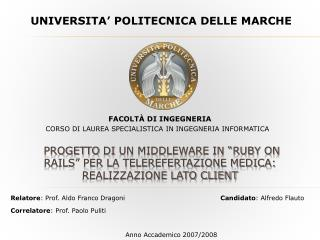 UNIVERSITA� POLITECNICA DELLE MARCHE