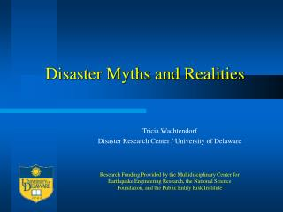 Disaster Myths and Realities