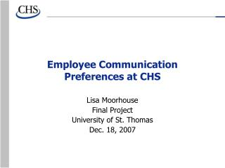 Employee Communication Preferences at CHS